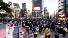 a wide angle afternoon panning time lapse of shibuya crossing in tokyo, japan