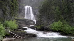 zoom in clip of virginia falls at glacier national park in montana, usa