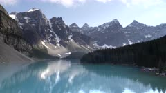 an afternoon shot of moraine lake and reflections at banff national park in canada