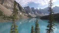 an afternoon tilt up clip of moraine lake at banff national park in canada