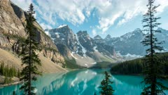 an afternoon time lapse of moraine lake at banff national park in canada