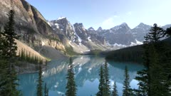 zoom in on beautiful moraine lake on a summer afternoon at banff national park in canada