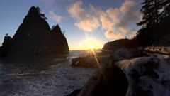sunset view of rialto beach and split rock in the olympic national park of the us pacific northwest