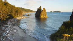 an afternoon view of split rock at rialto beach in the olympic national park of the us pacific northwest