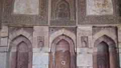 tilt up of the interior of bara gumbad at lodi gardens in delhi, india - 4K 60p