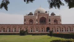 a front view of the unesco world heritage listed humayun's tomb in new delhi, india- 4K 60p