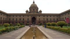 an exterior view of the ministry of defence building in new delhi, india