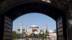 hagia sophia mosque viewed through an archway at istanbul, turkey
