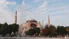 a 4K 60p afternoon clip of hagia sophia mosque and a fountain in istanbul, turkey