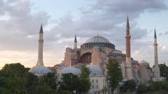 zoom in on hagia sophia mosque at sunset in istanbul, turkey