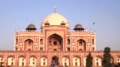 front view of the historic humayun's tomb in delhi on a beautiful afternoon