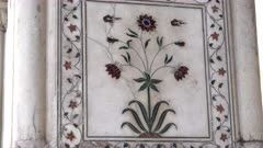 zoom in on a flower made from semi precious stones at red fort's diwan-i-khas in old delhi, india