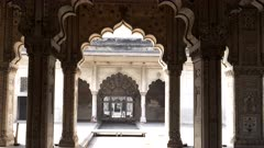 a gimbal steadicam clip of red fort's diwan-i-khas, or hall of private audiences, chamber in old delhi, india
