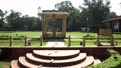 zoom in on the site of the shooting of mahatma gandhi in delhi, india