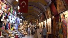 gimbal steadicam walking and tilt up shot inside the grand bazaar of istanbul, turkey