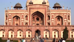 a tilt up clip of the exterior of the world heritage listed humayun's tomb in delhi, india