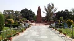 gimbal steadicam shot walking towards jallianwala bagh massacre memorial in amritsar, india