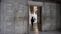 the marble door of heaven and hell inside hagia sophia mosque in istanbul, turkey