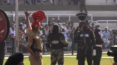 soldiers issue challenges and face off at the wagah border in amritsar, india
