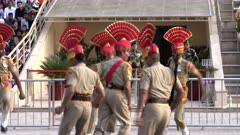 indian soldiers challenge their pakistani rivals at wagah border in amritsar, india