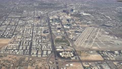 an aerial view of the airport and strip at las vegas in nevada, usa