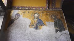 mural of christ, john the baptist and the virgin mary in the hagia sophia mosque in istanbul, turkey