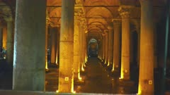 gimbal steadicam clip walking forward towards columns of basilica cistern in istanbul, turkey