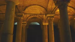 tilt down clip of arches and columns of basilica cistern in istanbul, turkey