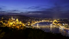 dusk panning time lapse from citadella of chain bridge and parliament in budapest, hungary