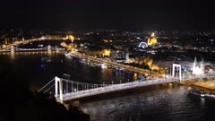 night view of elisabeth bridge from citadella in budapest, hungary