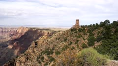 pan and tilt clip of desert view watchtower and colorado river at grand canyon national park in arizona, usa