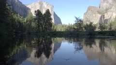 evening panning clip from valley view of el capitan and bridal veil falls in yosemite national park in california, usa