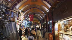 a gimbal steadicam shot walking past shops at the ancient grand bazaar in istanbul, turkey