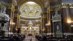 an interior view looking towards the altar of st stephen's basilica in budapest, hungary