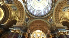 interior view of arches and domes of st stephen's basilica in budapest, hungary
