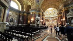 pan of the interior of st stephen's basilica in budapest, hungary