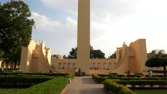 a tilt up clip of the world's largest sundial at jantar matar in jaipur, india