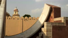 close up of the curved plate on the world's largest sundial at jantar matar in jaipur, india