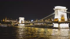 zoom in on the side of chain bridge on a spring night in budapest, hungary