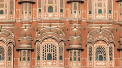 an extreme close tilt up shot of hawa mahal palace in jaipur, india