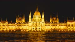 night view of the river danube and the hungarian parliament in budapest, hungary