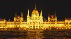 night time zoom in close up of the hungarian parliament in budapest, hungary