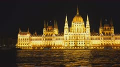 panning right shot of the hungarian parliament on a spring night in budapest, hungary