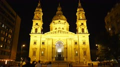 night view of the exterior of st stephen's basilica in budapest, hungary