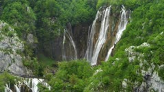 close tilt down shot of the veliki slap waterfall at plitvice lakes national park in croatia