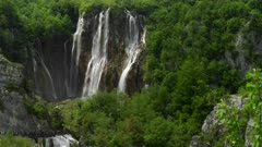 close up tilt down clip of veliki slap waterfall at plitvice lakes national park in croatia, veliki slap is the highest waterfall in the park
