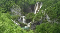 high angle view of veliki slap waterfall, the highest waterfall, at plitvice lakes national park in croatia