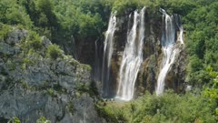 top section of the veliki slap waterfall at plitvice lakes national park in croatia- the parks highest waterfall