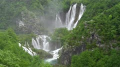 veliki slap, the largest waterfall at plitvice, at on a rainy misty day at plitvice lakes national park in croatia