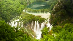 time lapse of a lake and waterfall at plitvice lakes national park in croatia